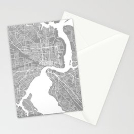 Jacksonville map grey Stationery Cards
