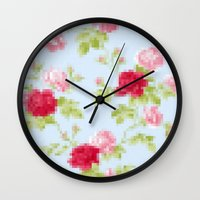 8 bit Wall Clocks featuring 8-bit by arielle morris