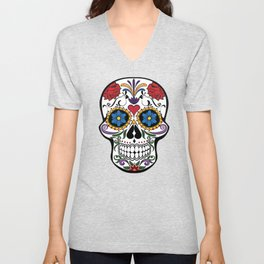 Red Roses and Heart Cranium Tattoo Art Unisex V-Neck