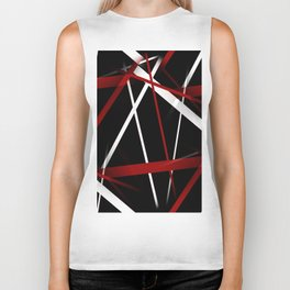 Seamless Red and White Stripes on A Black Background Biker Tank