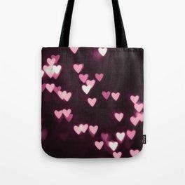 Romantic Pink Bokeh Hearts Tote Bag