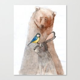 Bear, Hare and Tit Canvas Print