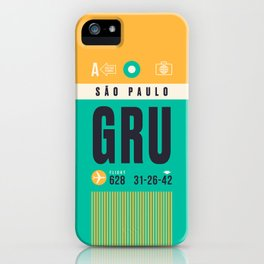 Baggage Tag A - GRU Sao Paulo Guarulhos Brazil iPhone Case