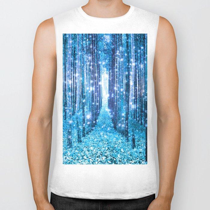 Magical Forest  Light Blue Turquoise Biker Tank