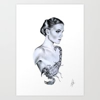 scorpio Art Prints featuring Scorpio by Libby Watkins Illustration