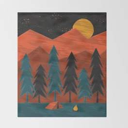 Camping Under a Harvest Moon Throw Blanket