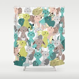 Easter rabbits pattern, sweet bunnies Shower Curtain