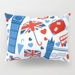 Fondo de patrón sin fisuras con hitos de Londres y símbolos de Gran Bretaña ilustración vectoria Pillow Sham