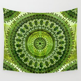 Vintage Lime Mandala Wall Tapestry