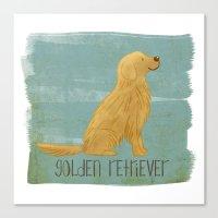 golden retriever Canvas Prints featuring Golden Retriever by 52 Dogs