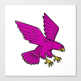 Peregrine Falcon Swoop Mono Line Canvas Print