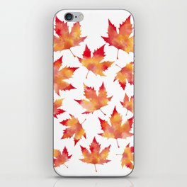 Maple leaves white iPhone Skin