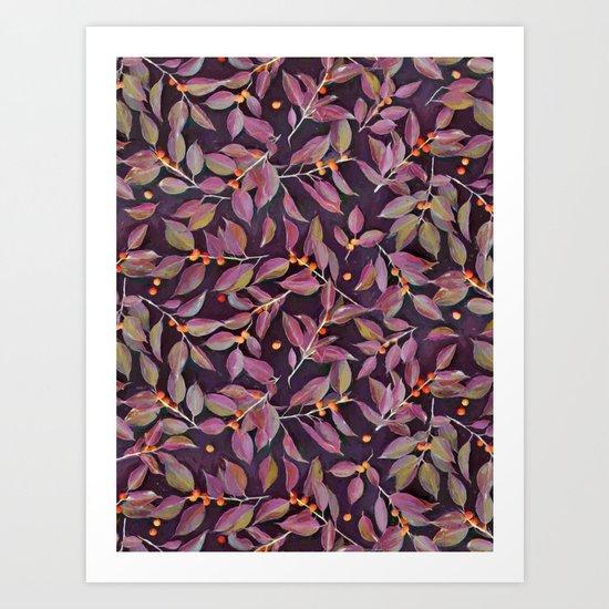 Leaves + Berries in Olive, Plum & Burnt Orange Art Print