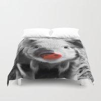 piglet Duvet Covers featuring BW splash sweet piglet by MehrFarbeimLeben