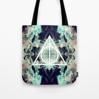 deathly hallows Tote Bags featuring Deathly Hallows by Christine DeLong Creative Studio