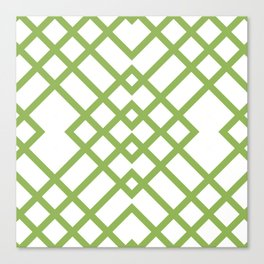 Green Tracery Geometric Pattern Canvas Print
