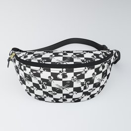 Black and White Vintage Halloween Disco Check Fanny Pack