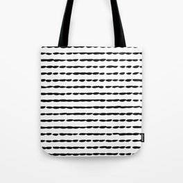 Black Ink Brush Dash Lines Tote Bag