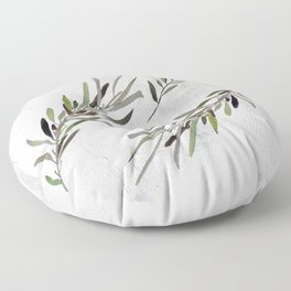 Eucalyptus Leaves White Floor Pillow