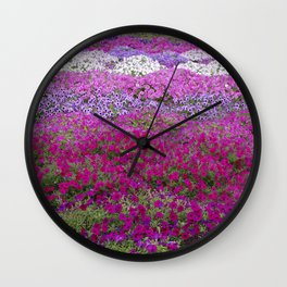 Waves of color on a sea of Petunias Wall Clock