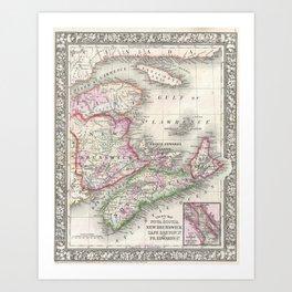 Vintage Nova Scotia and New Brunswick Map (1866) Art Print