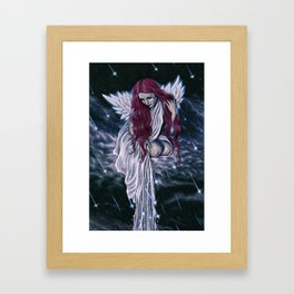 Raining Stars Celestial Angel Framed Art Print