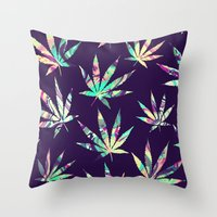 cannabis Throw Pillows featuring Merry Cannabis by GypsYonic