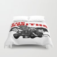 the smiths Duvet Covers featuring The Smiths (white version) by BinaryGod.com