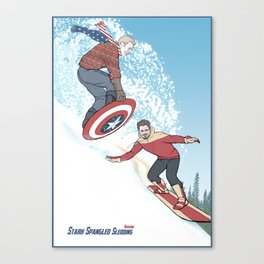 Stark Spangled Sledding (Recipe for a Concussion) Canvas Print