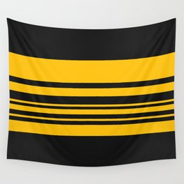 Yellow stripes on black Wall Tapestry