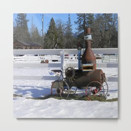 Replica of a Historical Steam engine tractor... Metal Print