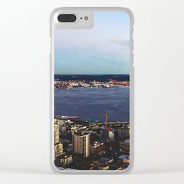 Seattle Summer Sunset from the Needle Panorama Clear iPhone Case