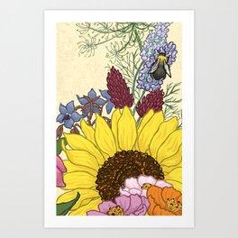 SunflowerBee Art Print