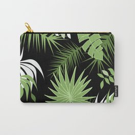 Black and White Green palm tree banana leaves summer tropical leaf print  Carry-All Pouch