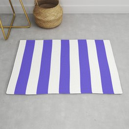 Majorelle blue -  solid color - white stripes pattern Rug