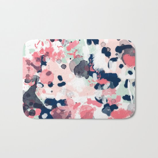 Lola - Painted abstract trendy color palette minimal decor nursery home Bath Mat