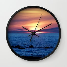 Sunset over Blue Waters Wall Clock