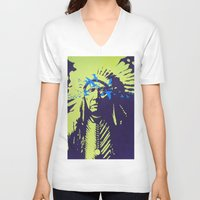 native american V-neck T-shirts featuring Native American  by Ty McKie Creations