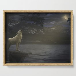 White wolf howling Serving Tray