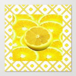Yellow Grapefruit Pattern Art Canvas Print