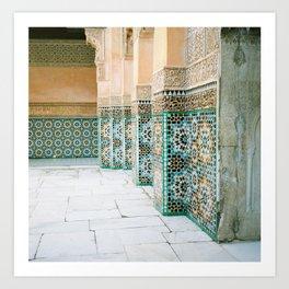 tiles in Medersa Ben Youssef Art Print