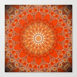 Detailed Orange Boho Mandala Canvas Print