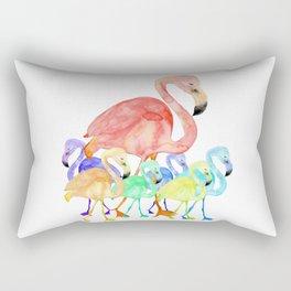 Family of Flamingos Watercolor Rectangular Pillow