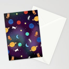 """""""Cats from outer space!"""" Galaxy Print Stationery Cards"""
