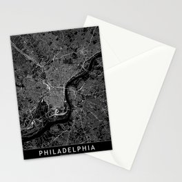 Philadelphia Black Map Stationery Cards