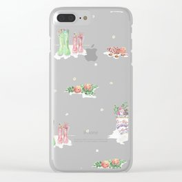 Christmas Boots Pattern Clear iPhone Case