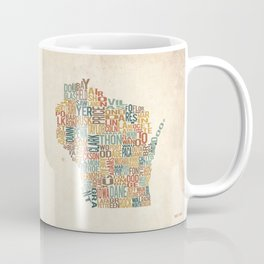 Wisconsin by County Coffee Mug