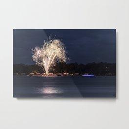 Fireworks Over Lake 12 Metal Print
