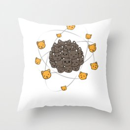 Cats Atom Nerdy Cute pet funny gift Throw Pillow