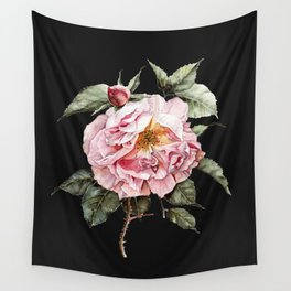 Wilting Pink Rose Watercolor on Charcoal Black Wall Tapestry